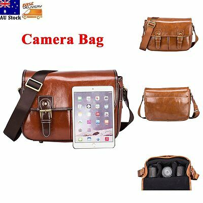 Waterproof Vintage PU Leather DSLR SLR Camera Shoulder Bag For Canon Sony Nikon
