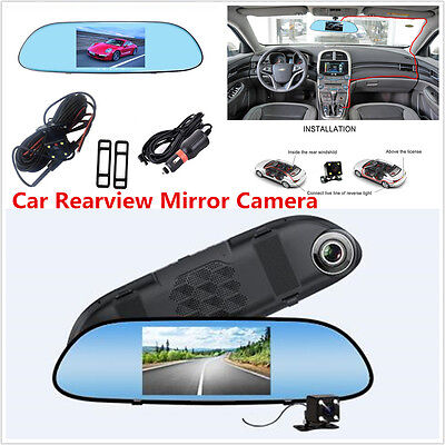 "5""Touch Screen LCD 1080P Dual Lens Car Rearview Mirror Video Camera&Night Vision"