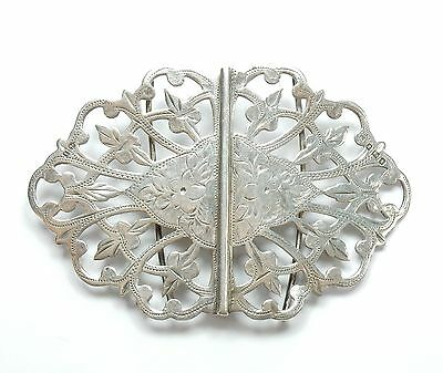 Antique Birmingham 1908 925 Sterling Silver Flower Nurses Belt Buckle 35g