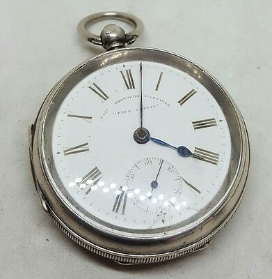 Antique solid silver gents Pain Brothers Hastings pocket watch c1900 working