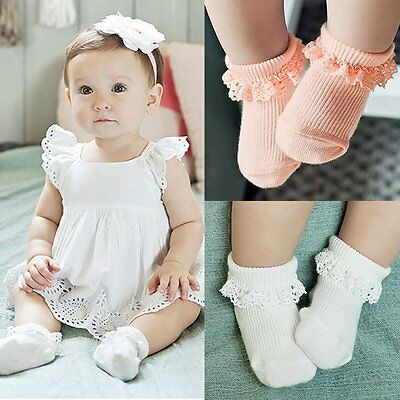 Baby Kids Princess Girl Vintage Lace Ruffle Frilly Trim Cotton Ankle Solid Socks