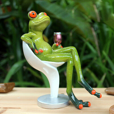 Sitting Seat Cup Frog Figurines Green Resin Sculpture Desk Decoration Frogs 34