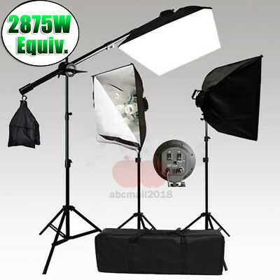 2875W Photography 4 Head Continuous Lighting Soft Box Boom Arm Light Stand Kit