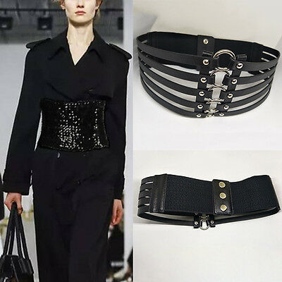 Lady Sequins Stretch Buckle Waist Belt Bow Wide Leather Elastic Corset Waistband