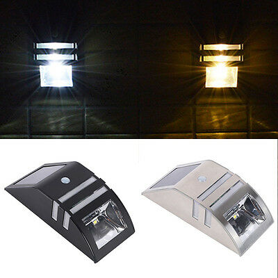 Stainless Steel Solar Power Motion Sensor 2 LED Outdoor Garden Wall Lamp Light