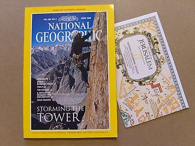 National Geographic Magazine - April 1996 - Jerusalem Map Included
