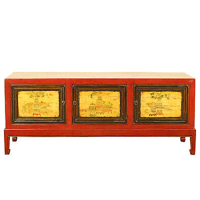 """Asian Chinese 57"""" W 23"""" Tall 3 Door Red Console Cabinet Painted Scenes"""