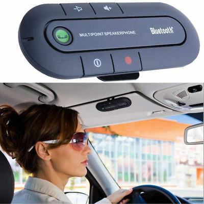 Bluetooth Wireless Speaker Phone Slim Magnetic Hand Free In Car Kit Visor Clip p