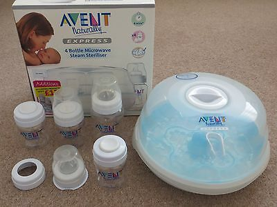AVENT Express Microwave Steam Steriliser And 4 AVENT Bottles (Boxed)