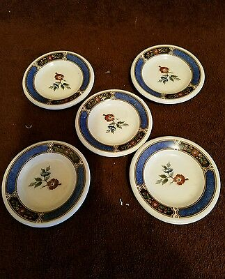 """(5) Butter Pat Dishes;stoneware;3 1/2""""d; Floral/shade Of Blue/ Brown/green"""