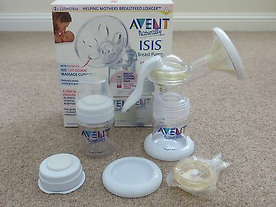 AVENT Isis Breast Pump with 2 Milk Storage Bottles (Boxed)
