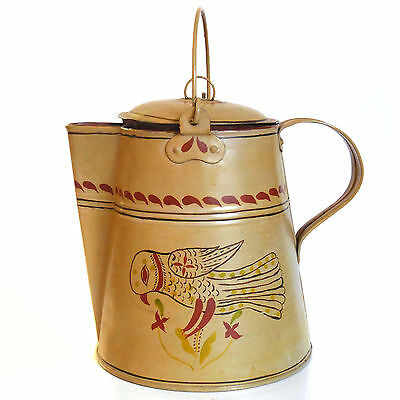 """Circa 1850 Antique Tole Painted Tin Coffee Pot / Pitcher - 8.5"""" tall"""