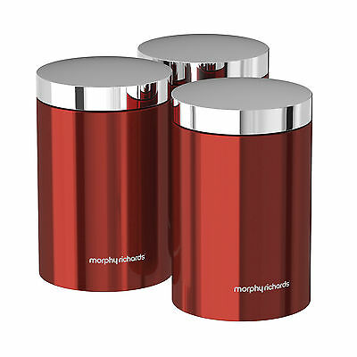 BRAND NEW: Morphy Richards 974069  Set of 3 Storage Canisters Red Accents