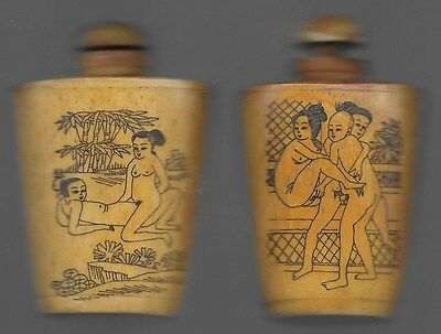 2 Different  Chinese erotic snuff bottles
