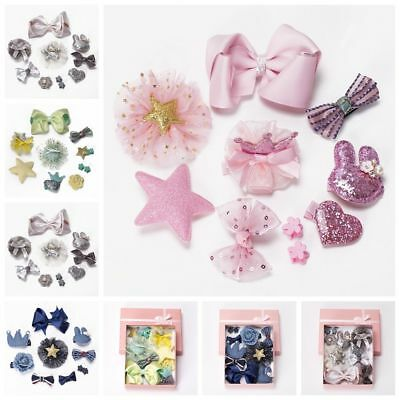 10Pcs//Set Kids Baby Girl Bow Boutique Hair Clips Flower Barrette Pins Gift RGE