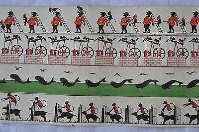 Antique Zoetrope Animation Strips 1890's Four 4 Optical Illusions