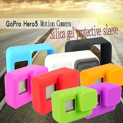 Protective Dirtproof Soft Silicone Case Cover+Lens Cover For GoPro HD Hero 5 @S