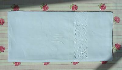 Narrow Light Linen Sheet 240 cm x 135 cm Monogram M.L.C Lace Vintage Antique