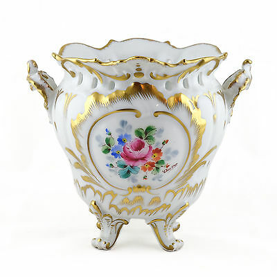 Cache-Pot Louis Xv En Porcelaine De Limoges, Giraud, Décor Main Signé Chris-Dan