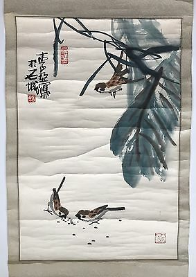 A Chinese Vintage Watercolor Scroll Painting Signed Li Ya
