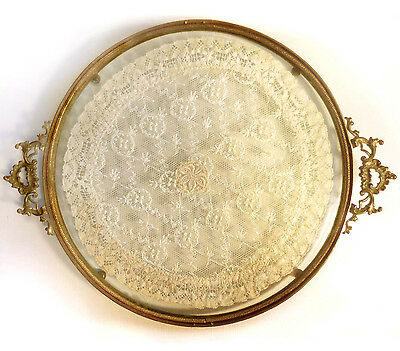 Vintage Footed Tray of Gold Ormolu with Glass Encased, Lace Doily
