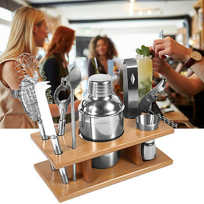 8 tlg Edelstahl Cocktailset 350ml Cocktail Shaker Bar Set + Zubehör Mixer GD Top
