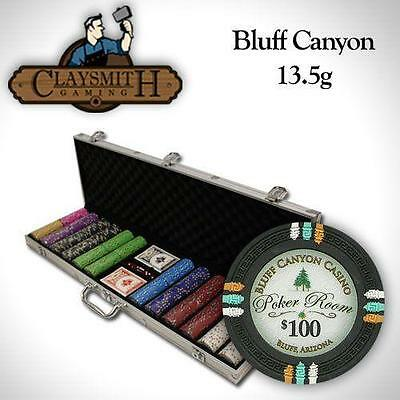 NEW 600 PC Bluff Canyon 13.5 Gram Clay Poker Chips Set Aluminum Case Pick Chips