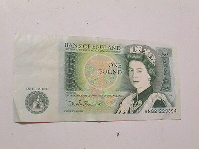 British One pound note 1980,s