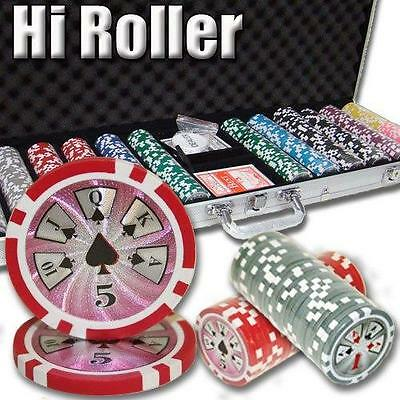 NEW 600 High Roller 14 Gram Clay Poker Chips Set With Aluminum Case Pick Chips