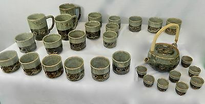 1950's Otagiri Somayaki VTG Tea Sake lot of 30 Dbl Wall Aohibi Pottery Gold Gilt