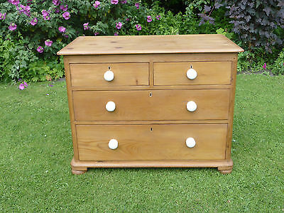 Victorian Stripped Pine Chest of Drawers 2 over 2, Bun Feet + White Pot Knobs