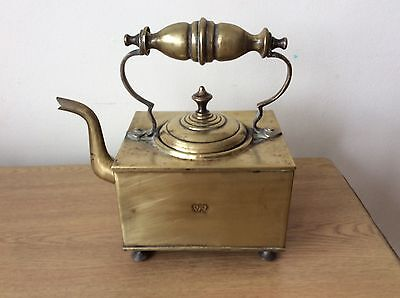 Victorian brass antique VR square kettle / teapot
