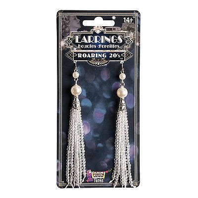 LADIES CHARLESTON ROARING 1920s PEARL TASSEL EARRINGS FANCY DRESS