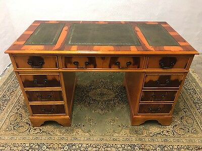 Antique Style Yew Wood Green Leather Top Writing Desk Chesterfield FREE UK P&P