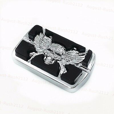 Chrome Skull Wing Large Brake Pedal Pad For Harley Softail Electra Glide Custom