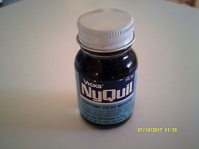 Vintage VICKS NYQUIL COLD MEDICINE Free Trial Sample 1960's Unopened 1 Oz.