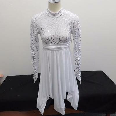 Dance Costume Small Adult White Sequined Lace Dress Lyrical Solo Competition