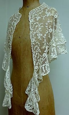 Stunning Victorian Handmade Antique Lace Capelet Shawl Cape Wedding Bridal Trim