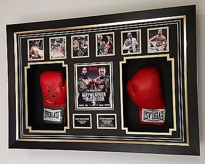** Conor Mcgregor and Floyd Mayweather SIGNED BOXING GLOVEs Autograph Display **