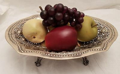 Silver Centerpiece / Fruitbowl With Floral Design