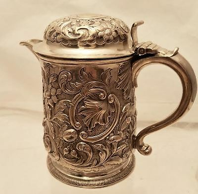 Sterling Tankard In Floral Design By Orlik