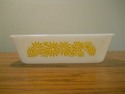 Vintage Ovenware Glass Loaf Pan Yellow Flower/Daisy, Circa 1960-70; Made in USA