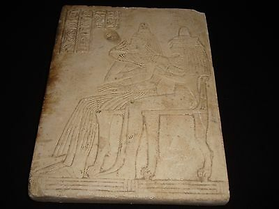 Rare Ancient Egyptian Craved Isis and Hathor Wall Relief Fragment 1050- 500 B.c.
