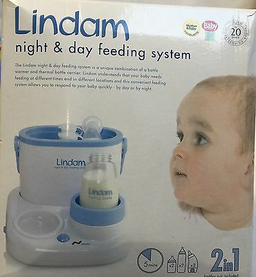 Lindam 2in1 Night & Day Feeding System Warm Baby Bottles Fast & Easy