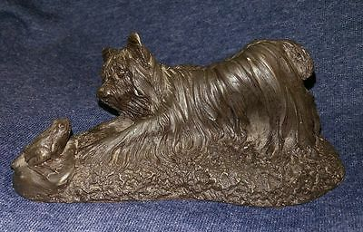 Heredities Jean Spouse Cold Cast Bronze Terrier Dog playing with Frog Figurine