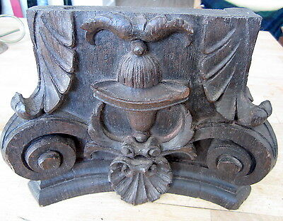 Antique Carved Wood Section Architectural Salvage Corinthian Scroll