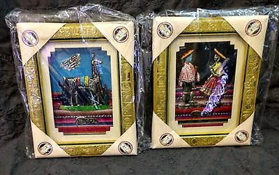 Peruvian Set of Two HAND WOVEN HAND PAINTED GILT GOLD Frames Llama & Couple