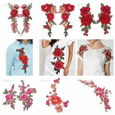 Embroidered Rose Flower Sew On Patch Neck Trim Floral Collar Applique Craft Hat