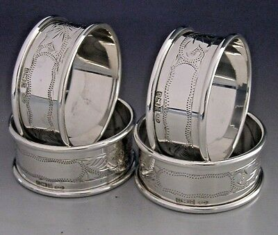 Four English Sterling Silver Napkin Rings 1992 Mint