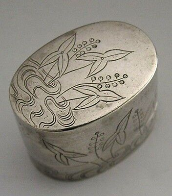 RARE CHINESE JAPANESE SOLID SILVER OPIUM BOX ANTIQUE c1890